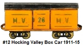 Carlisle & Finch #12 2 inch gauge Hocking Valley Box Car circa 1911-1915