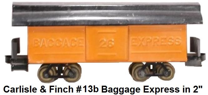 Carlisle & Finch #13b Embossed and enameled Baggage Express Car in 2 inch gauge