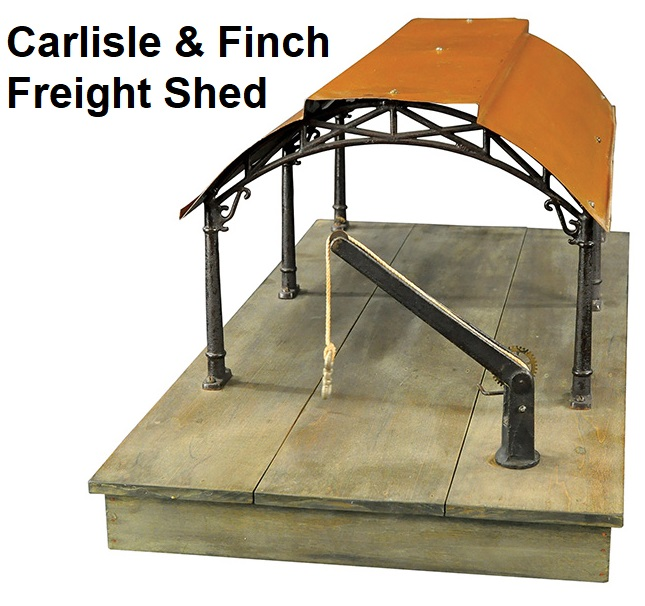 Carlisle & Finch freight shed with a tiered roof supported by six cast-iron columns with ornate arch extensions sold for $23,600 in 2016