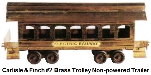 Carlisle & Finch early #2 Brass Trolley Non-powered trailer car