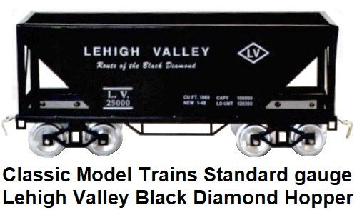 Classic Model Trains Lehigh Valley Black Diamond Route Standard gauge Hopper
