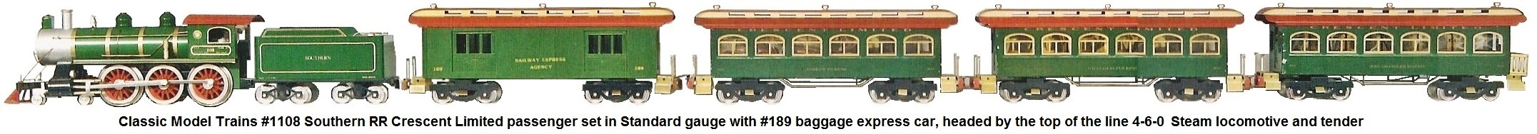 Classic Model Trains Standard gauge #1108 4-6-0 Mogul locomotive and tender Southern RR Crescent Limited set with #189 Baggage Express car, 2 coaches and an observation car circa 1977