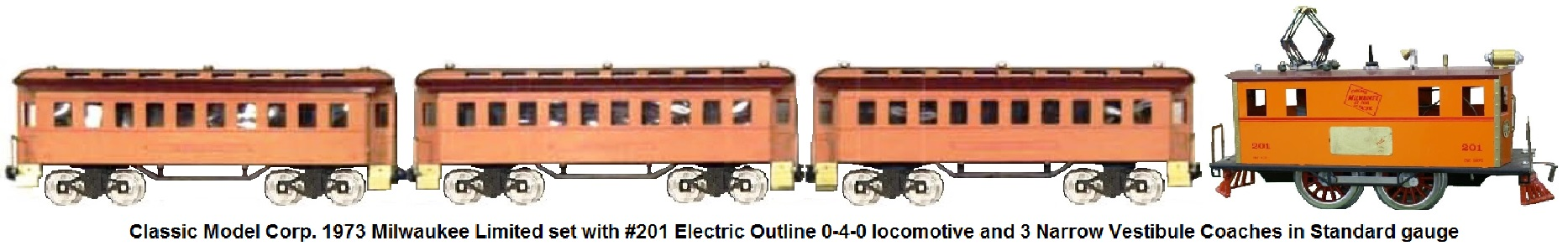Classic Model Corp. Standard gauge Milwaukee Limited set with #201 Box Cab 0-4-0 electric outline locomotive and three narrow vestibule coaches made in 1973