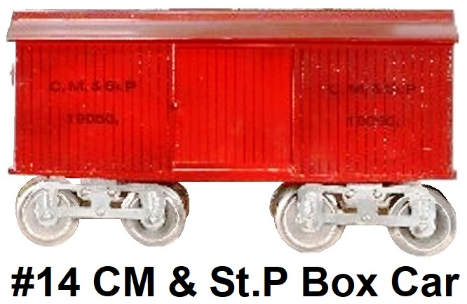 James Cohen Standard gauge reproduction Lionel #14 CM & St. P Box car