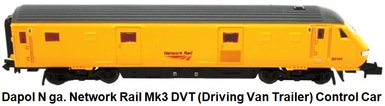 Dapol N gauge Mk3 DVT (Driving Van Trailer) Control Car in Network Rail livery