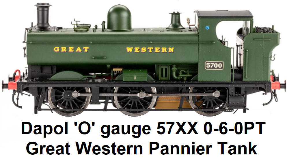 Dapol 'O' gauge 57XX 0-6-0PT Pannier Tank locomotive in Great Western Livery