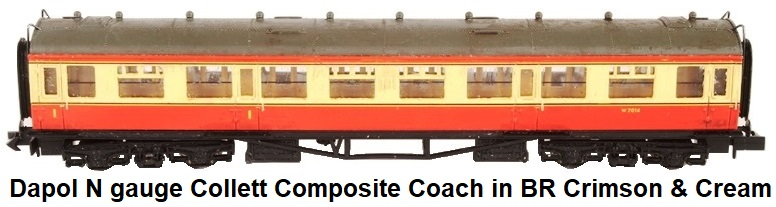 Dapol N gauge Collett composite coach W7014 in BR crimson and cream