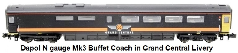 Dapol N gauge Mk3 buffet coach #40426 in Grand Central livery