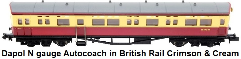 Dapol N gauge Autocoach in British Rail crimson & cream