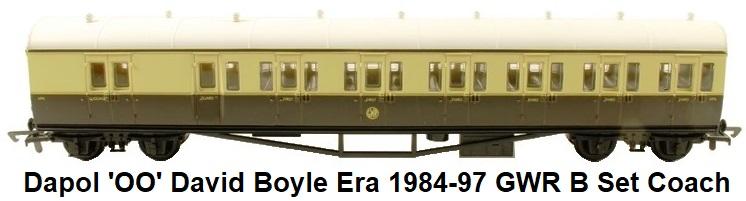 Dapol 'OO' David Boyle era 1984 - 1997 GWR B set coach
