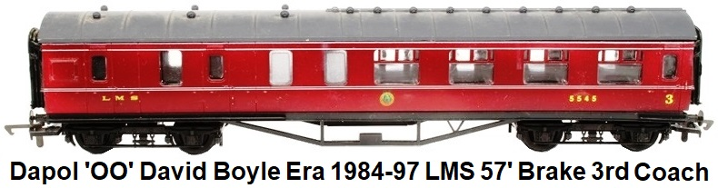 Dapol 'OO' David Boyle era 1984 - 1997 LMS 57' Brake Third Class Coach in LMS Maroon