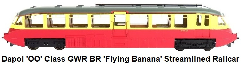 Dapol 'OO' gauge Class GWR BR 'Flying Banana' Streamlined Railcar