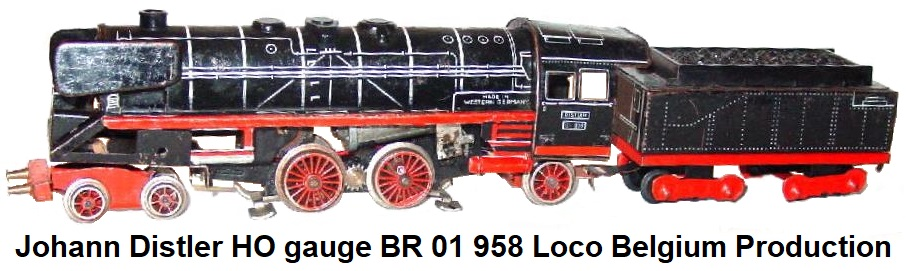 Johann Distler Nuremberg, Tinplate Lithographed HO gauge BR 01 958 Loco Belgium production