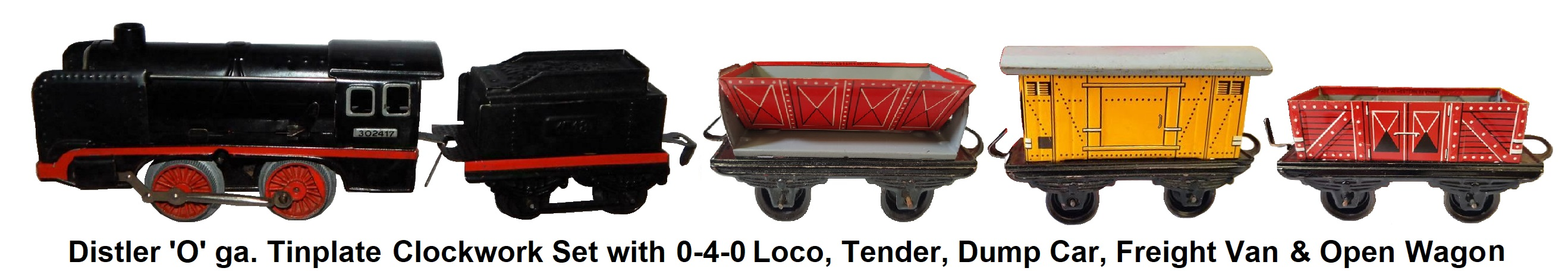 Johann Distler 'O' gauge tinplate lithographed freight set with 0-4-0 clockwork loco, tender, dump car, closed van and open wagon