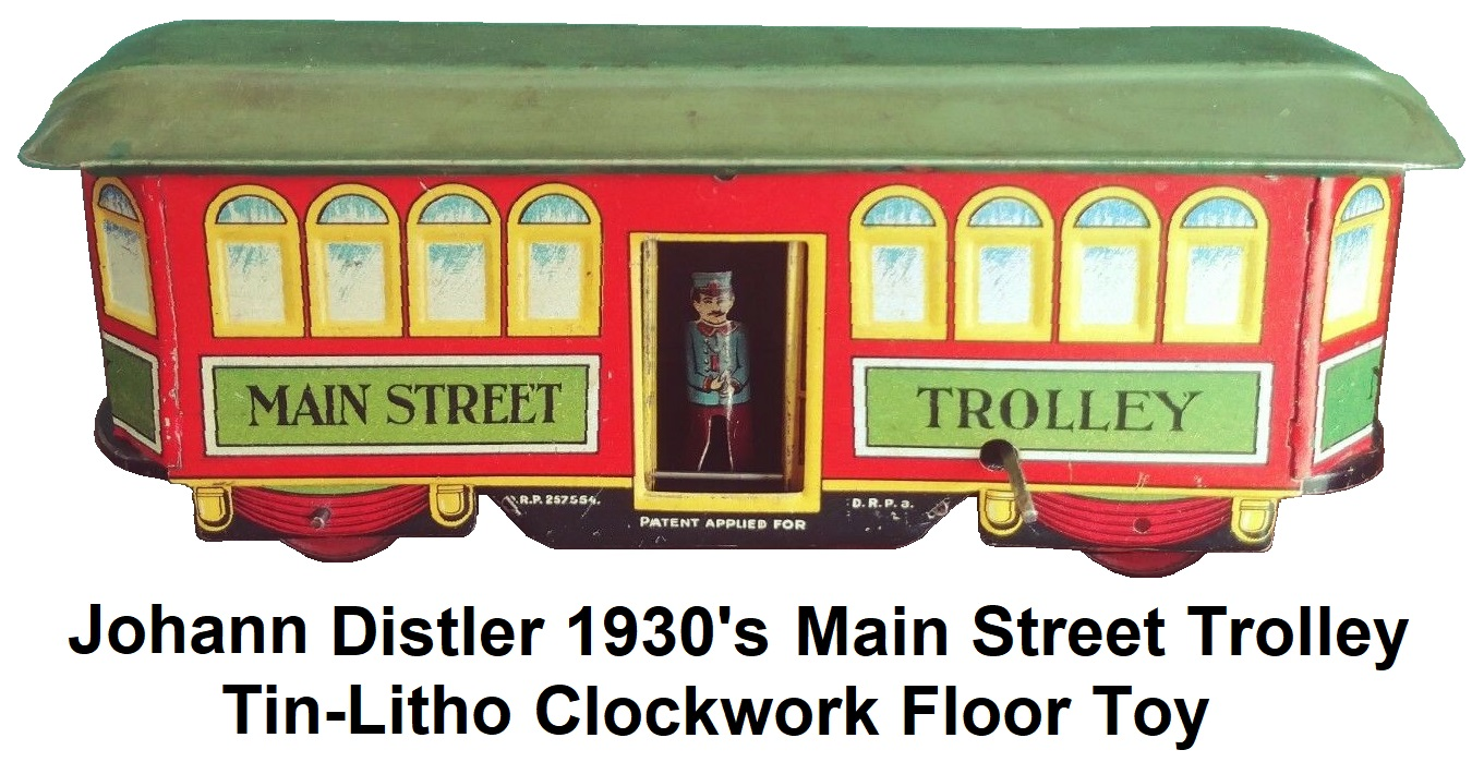 Johann Distler 1930's clockwork Main Street Trolley floor toy