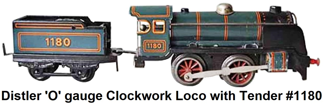 Johann Distler 'O' gauge clockwork steam locomotive with tender #1180