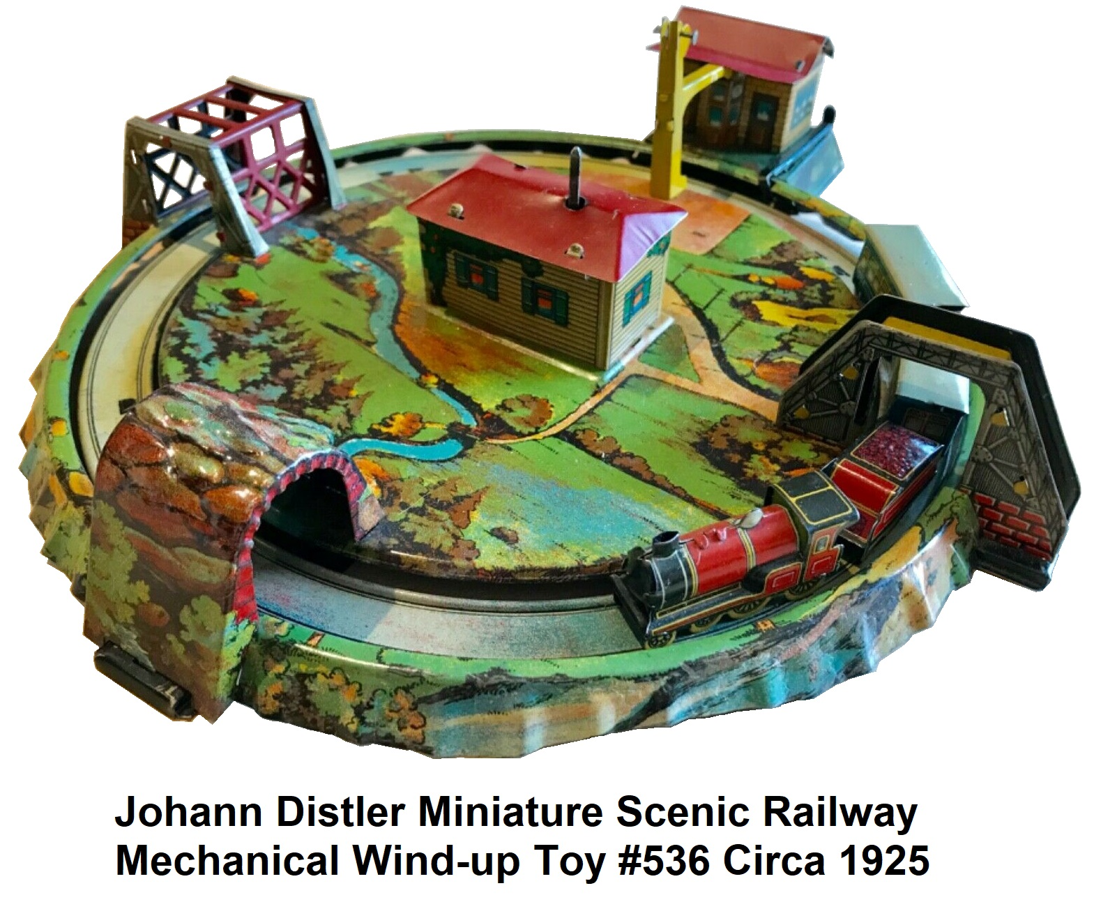 Johann Distler Miniature Scenic Railway mechanical toy #536 circa 1925