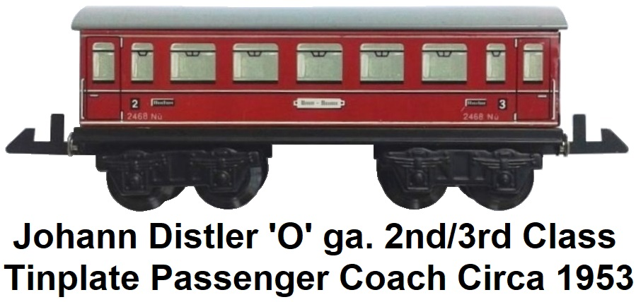 Johann Distler 'O' gauge tinplate litho 2nd/3rd class passenger coach circa 1953