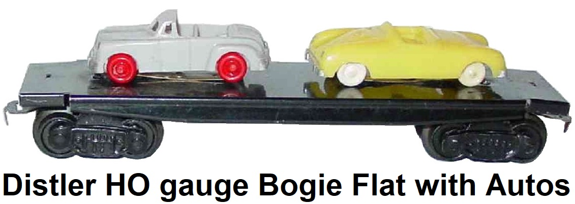 Johann Distler HO gauge bogie flat with autos circa 1957