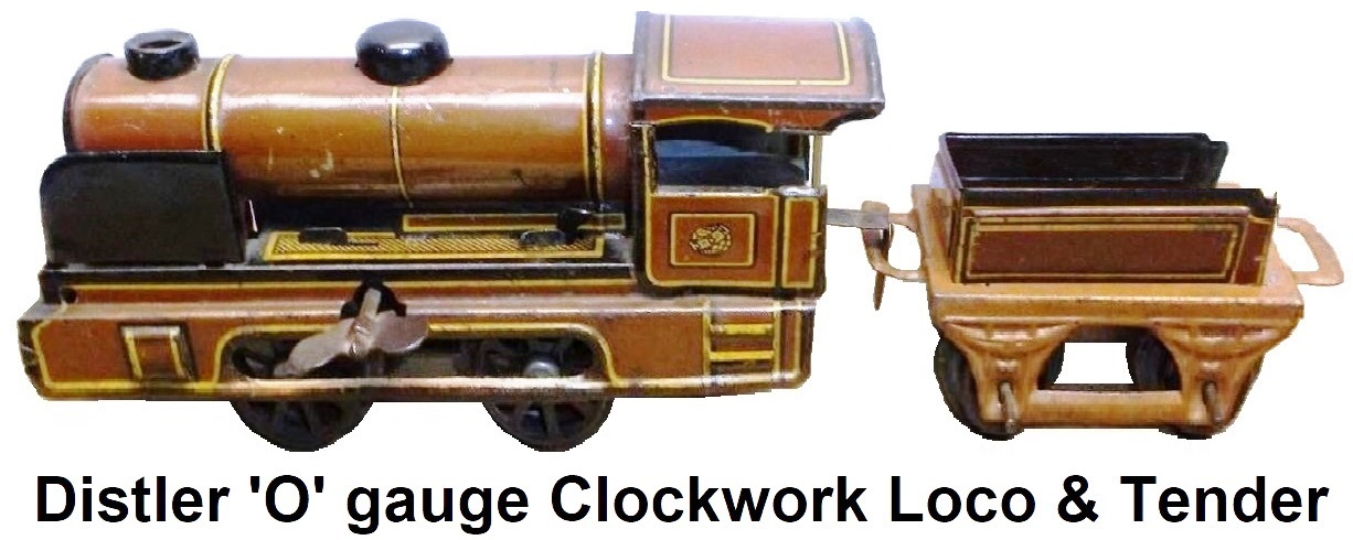Johann Distler 'O' gauge tinplate lithographed clockwork steam outline locomotive and tender
