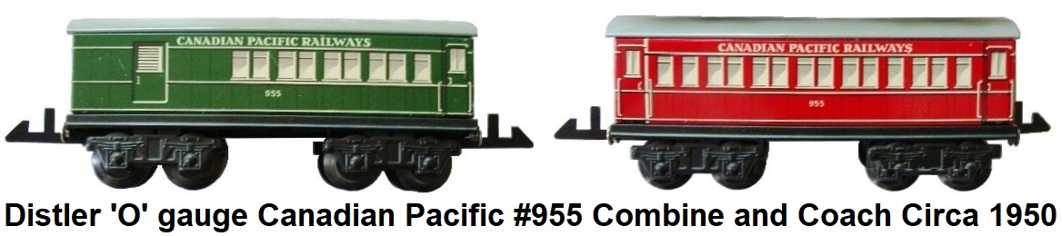 Johann Distler 'O' gauge Bogie Canadian Pacific Railways #955 combine and coach circa 1950