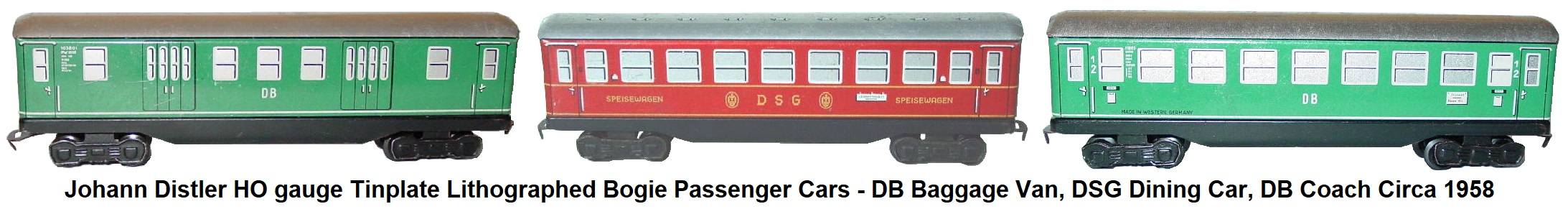Johann Distler Nuremberg, HO gauge tinplate lithographed passenger set from 1958