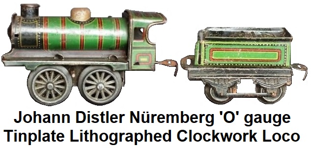 Johann Distler 'O' gauge tinplate lithographed clockwork steam outline locomotive