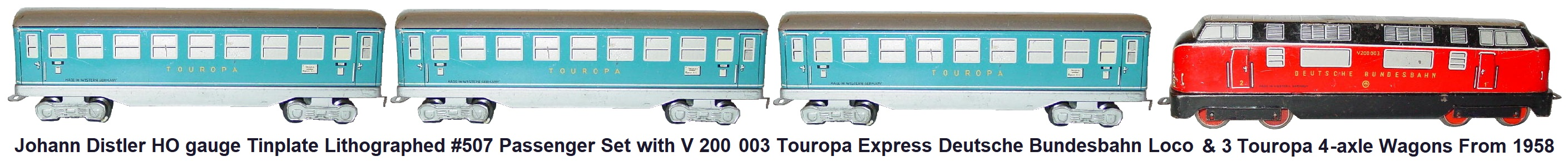 Johann Distler Nuremberg, HO gauge tinplate lithographed #507 Set with V 200 Touropa Express loco and 3 blue Touropa 4-axle wagons from 1958