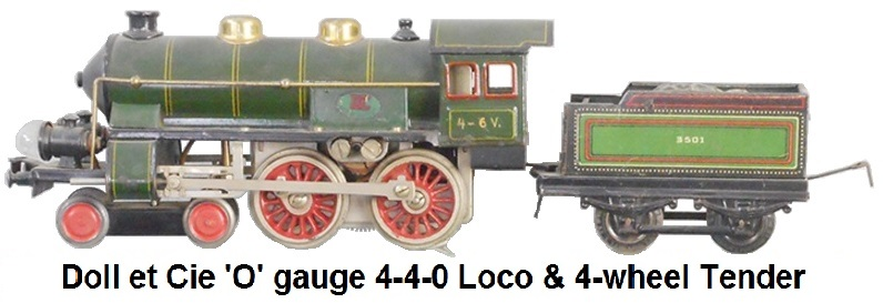 Doll et Cie. Tinplate 4-4-0 Loco and 4-wheel tender in 'O' gauge 3-rail electric