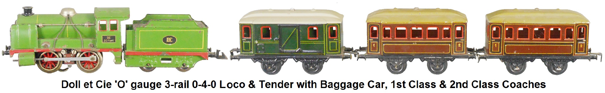 Doll et Cie. Tinplate 0-4-0 Loco and 4-wheel tender in 'O' gauge 3-rail electric with Baggage Car, 1st Class Coach and 2nd Class Coach