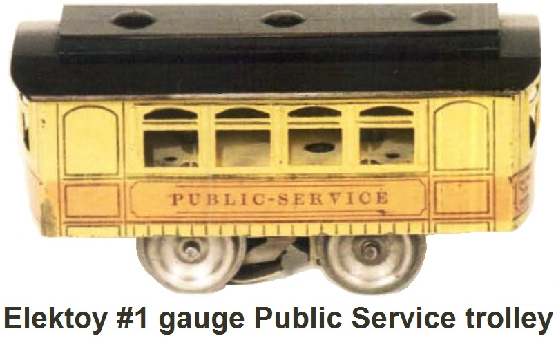 Elektoy #901 4 wheel Public Service Trolley made in 1913 in #1 gauge