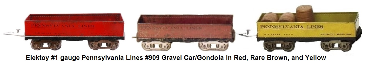 Elektoy #909 Pennsylvania Lines gondolas in red, rare brown and yellow in #1 gauge