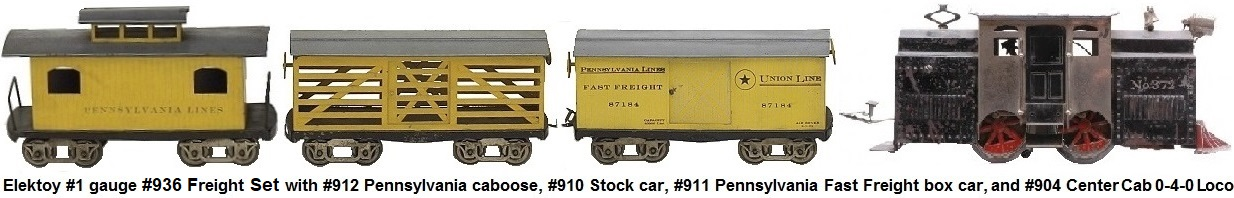 Elektoy #904 0-4-0 electric Outline locomotive, #911 Pennsylvania Fast Freight Box Car, #910 Stock car and #912 Pennsylvania caboose in #1 gauge