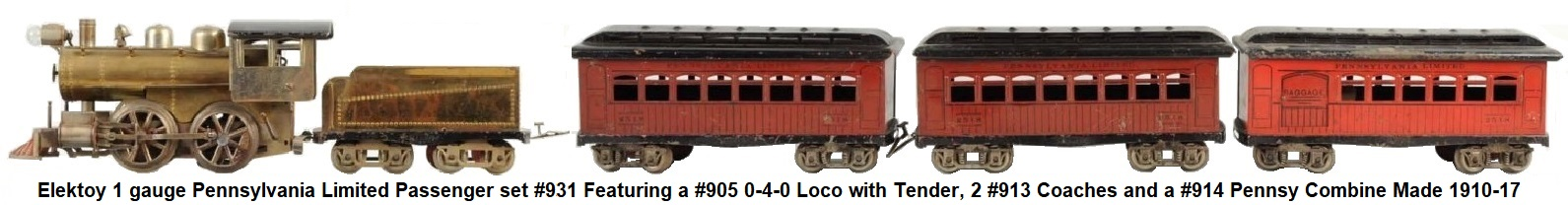 Elektoy #1 gauge Pennsylvania Limited Passenger Set with #905 0-4-0 Steam Outline loco, 8-wheel tender, 2 #913 Pennsylvania Coaches, #914 Pennsylvania Combo car, made 1010-17