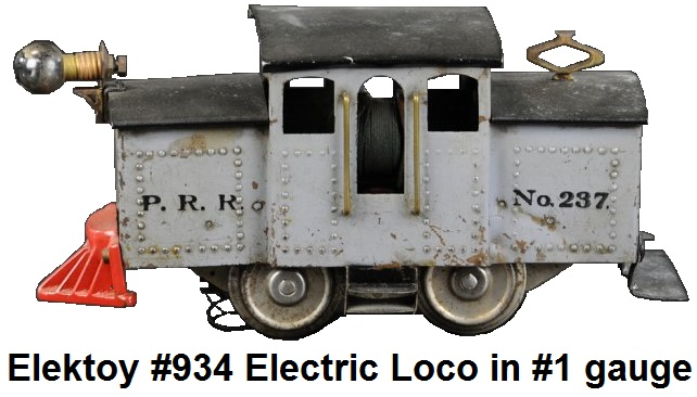 Elektoy catalog #934 model #237 P.R.R. Electric Outline 0-4-0 Loco in #1 gauge