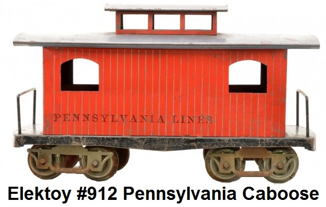 Elektoy #912 Red Litho Caboose w Gray Roof in #1 gauge