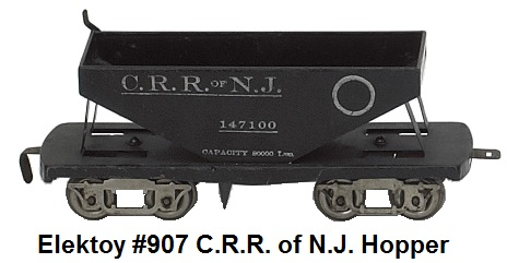 Elektoy #907 C.R.R. of N.J. Hopper Car in #1 gauge with lever operated bottom opening