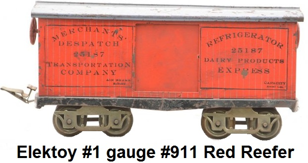 Elektoy #911 Red Litho Reefer w Gray Roof in #1 gauge