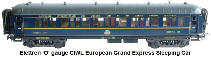 Elettren 'O' gauge CIWL European Express Sleeping car