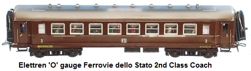 Elettren 'O' gauge Ferrovie dello Stato (Italian State Railway) 2nd class coach