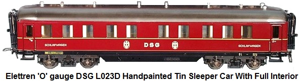 Elettren DSG (German Federal Railway) 'O' gauge handpainted tin L023D sleeper car with full interior and diaphragms, 17 inches long