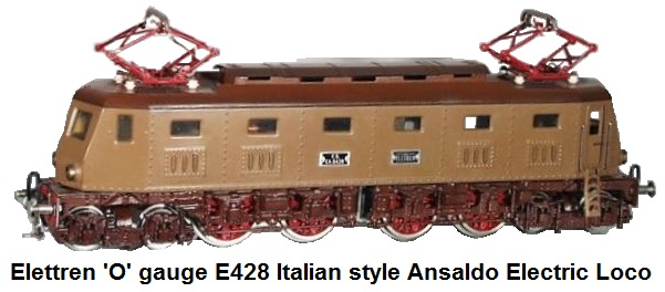 Elettren FS E428 Italian style Ansaldo Electric Locomotive in 'O' gauge first produced in 1947