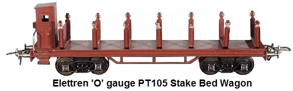 Elettren 'O' gauge PT105 stake car, die cast & litho tin, 12.5 inches long