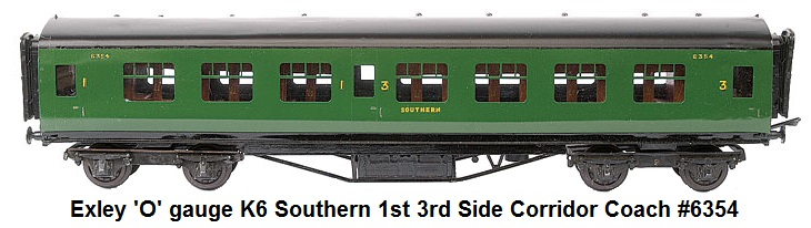 Exley Southern Railway 'O' gauge K6 Southern 1st 3rd Side Corridor Coach #6354