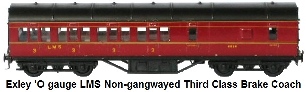 Exley 'O' gauge LMS non-gangwayed brake all thirdclass coach