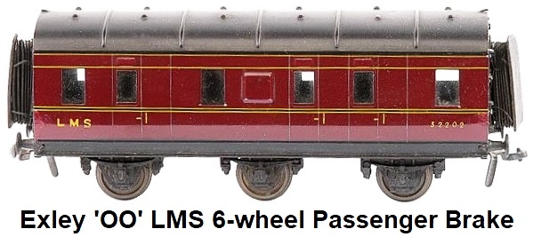 Exley 'OO' gauge LMS maroon 6-wheel Passenger Brake fitted with Peco Dublo style couplings