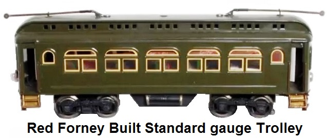 Red Forney built standard gauge trolley with a horizontal postwar diesel motor with an E unit. Trucks are constructed from postwar 'O' gauge parts