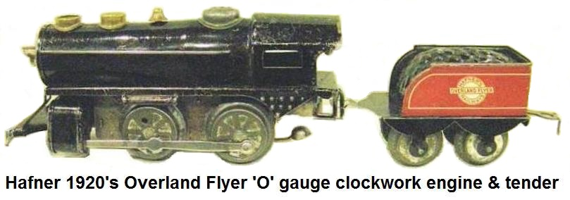 Hafner 0-4-0 tinplate clockwork loco and 4 wheel tender in 'O' gauge from the 1920's