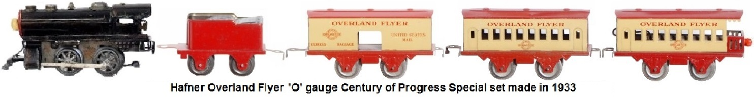 Hafner Overland Flyer Century of Progress set in 'O' gauge tinplate - clockwork 0-4-0 loco with tender, baggage car, pullman and observation car circa 1933