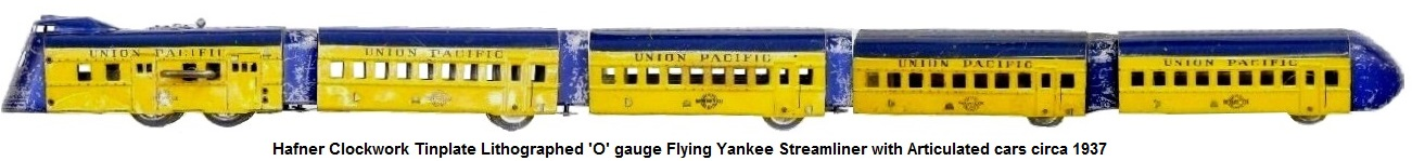 Hafner Flying Yankee Streamliner tinplate clockwork loco with 3 articulated passenger coaches and observation car in 'O' gauge